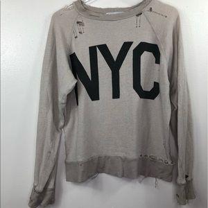 Wildfox NYC Distressed Destroyed Sweatshirt Holes